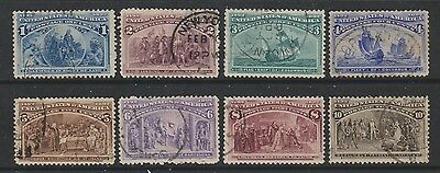 USA - 1893, 1c - 10c Columbus set - F/U - SG 235/42 (Cat. £107)