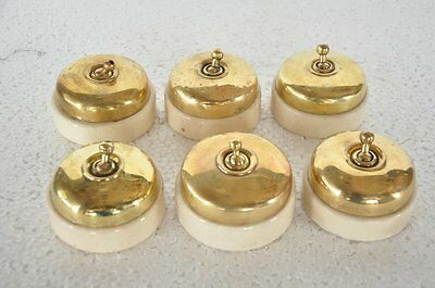 6 Pc Vintage Brass & Ceramic Big Victorian Electric Switches