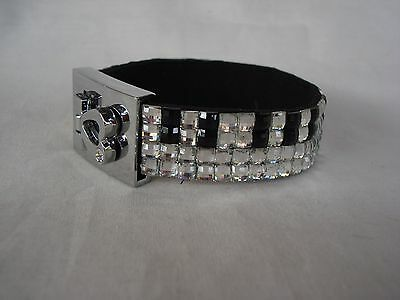 PIANO Keyboard Music Crystal Bracelet 4 Rows Black/Clear Crystals Brand NEW