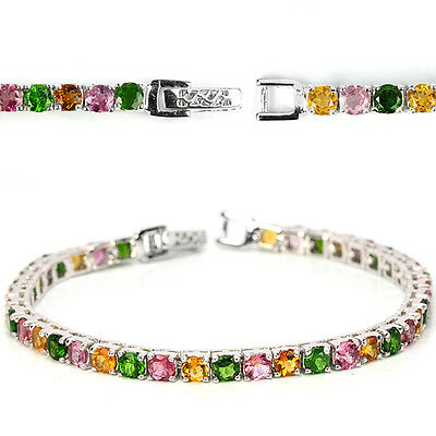 Sterling Silver 925 Genuine Colours Tourmaline/Chrome Diopside Bracelet 7 In #2