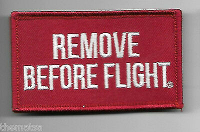Remove Before Flight 2 X 3  Embroidered Uniform Shirt Red Patch Hook Loop