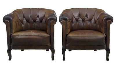 PAIR OF 1920's LEATHER BUTTON BACK LOUNGE ARMCHAIRS