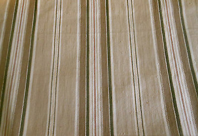 Antique French Ticking Fabric ~ Tan Brown Olive Soft Tawny Red