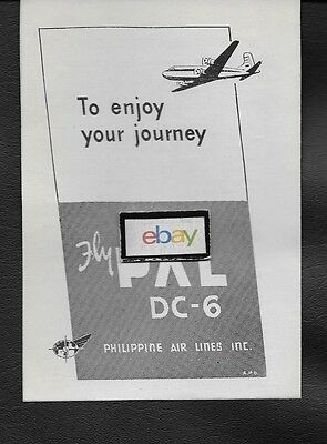 Philippine Air Lines Inc 1953 To Enjoy Your Journey Fly Pal Dc-6 Ad