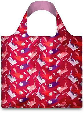 New LOQI Grocery Shopping Reusable TOTE BAG Washable PINK FAT CATS Kitten Fold