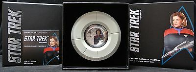 2015 STAR TREK CAPTAIN KATHRYN JANEWAY - 1 oz. SILVER PROOF COIN - Tuvalu -BOXED