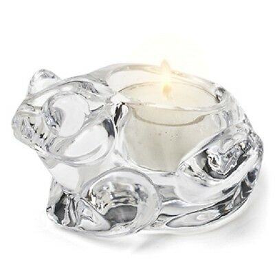Frog Tea Light Candle Holder Clear Heavy Glass - Free Soy Tealight - AB