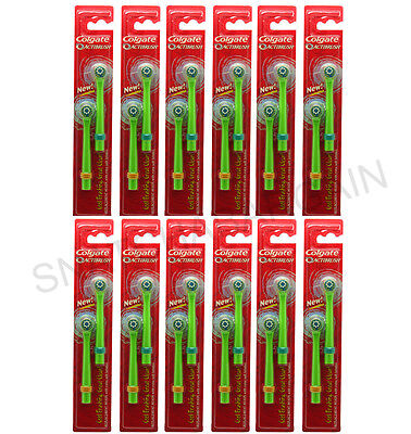 12 P/Ks Of 2 = 24 Colgate Actibrush Replacement Soft Heads Assorted Colour Bands