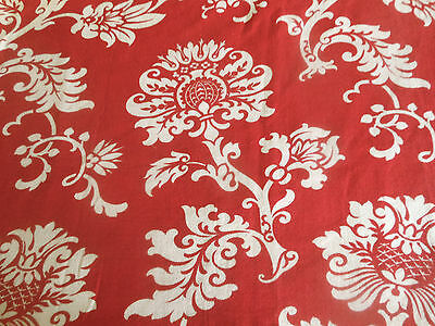 Antique French 19thc  Sylized Red Floral Cotton Fabric ~