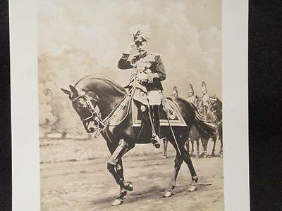King George V in Dress Uniform Saluting on Horseback  5 X 7 B&W Portrait