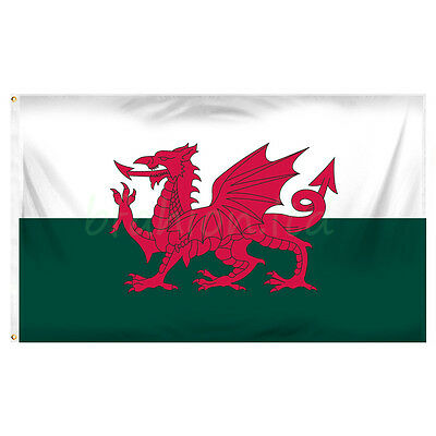 Wales National Flag Large 5 x 3 FT - 100% Polyester - Welsh Dragon