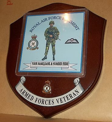 Royal Air Force Regiment Veteran Wall Plaque with name rank& number