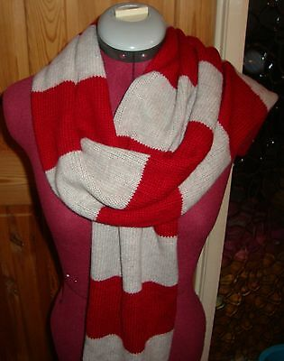 BNWT MELBA Ladies Deep Red/Pale Grey Striped Wool/Cashmere Blend Scarf
