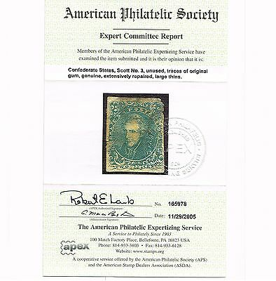 Scarce Genuine Scott #csa3 Mint Og Confederate Aps Cert Scv $950  Priced To Sell