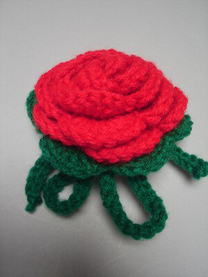 Luggage Bag Identifyer ID Tag Crochet Rose Red Green