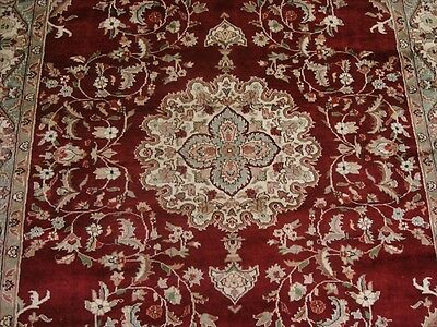 Wow Mid Night Red Medallion Flowral Kasha Hand Knotted Rug Wool Silk Carpet 9X6