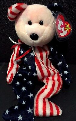 TY Beanie Baby SPANGLE Pink / White Face BEAR 1999 American Flag Fabric 4th JULY