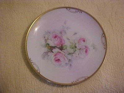 ROYAL MUNICH, Z. S. & CO. BAVARIA HAND PAINTED PLATE w/ PINK ROSES