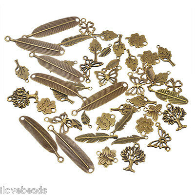 LOVE 20x Bronze Tone Mixed Feather Butterfly Pendants Fashion Charm Jewelry