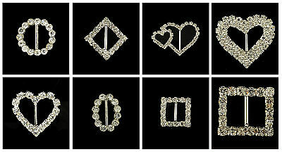 Rectangle Circle Heart Square Diamond Rhinestone Crystal Buckle Ribbon Sliders