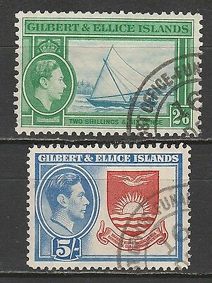 Gilbert & Ellice Islands 1939 Kgvi Pictorial 2/6 And 5/- Used Top 2 Values
