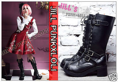 Punk lolita 15-Hole Buckle Strap Studs Boots 7/7.5 BLACK 37 2048