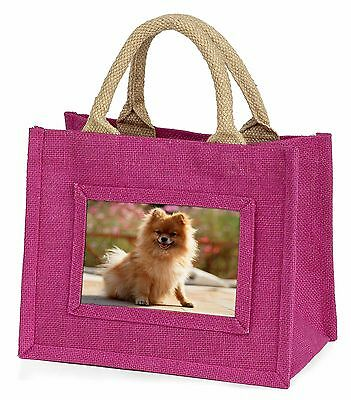 Pomeranian Dog on Decking Little Girls Small Pink Shopping Bag Chris, AD-PO89BMP