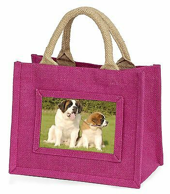 St Bernard Dog and Puppy Little Girls Small Pink Shopping Bag Christ, AD-SBE1BMP