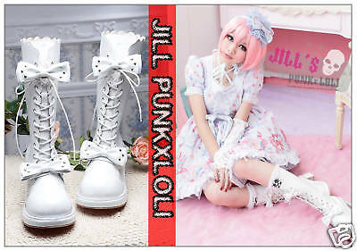 Punk Lolita 11-Hole Emily Bows Studs Boots 6.5/7 WHITE 42 2068