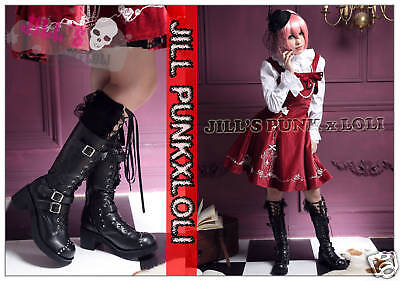 Punk lolita 15-Hole Buckle Strap Studs Boots 9.5/10 BLACK 42 2048