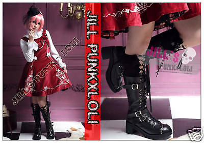 Punk lolita 15-Hole Buckle Strap Studs Boots 8.5/9 BLACK 40 2048