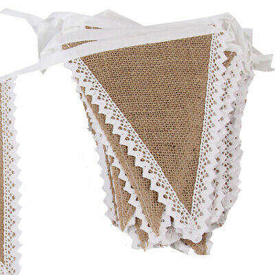 10m Vintage Rustic Wedding Party Decoration Hessian Burlap Lace Bunting Banner F
