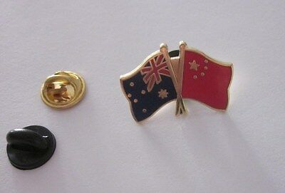 Australia & China Flag Friendship Flag Pin Badge Australian Chinese