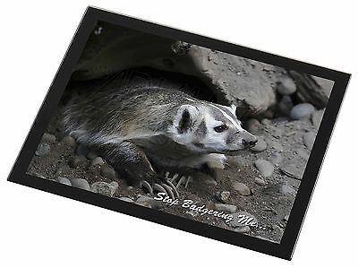 Badger-Stop Badgering Me! Black Rim Glass Placemat Animal Table Gift, ABA-3GP