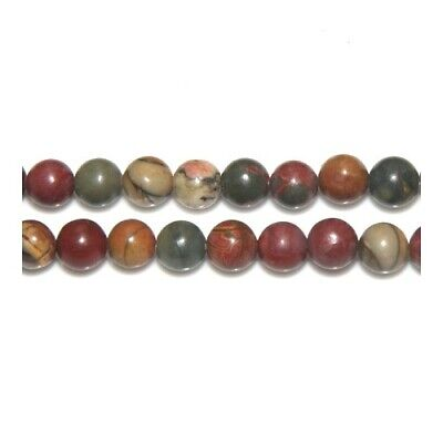 Strand of 60+ Mixed Picasso Jasper 6mm Plain Round Beads Y02320