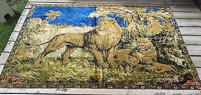 Vintage Lion Tapestry Huge 69x48 Cubs Jungle Lioness Flowers Floral Wall Decor