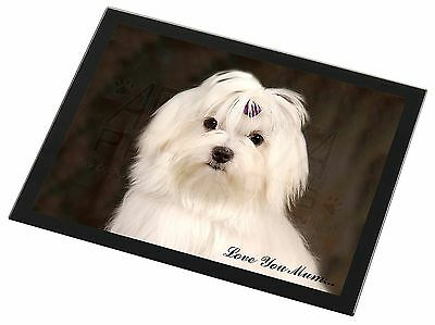 Maltese Dog 'Love You Mum' Black Rim Glass Placemat Animal Table Gif, AD-M1lymGP