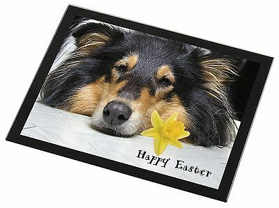'Happy Easter' Rough Collie Black Rim Glass Placemat Animal Table G, AD-RC2DA1GP
