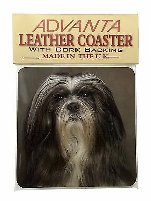 Lhasa Apso Dog Single Leather Photo Coaster Animal Breed Gift, AD-LAP1SC