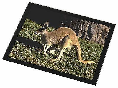 Kangaroo Black Rim Glass Placemat Animal Table Gift, AK-2GP