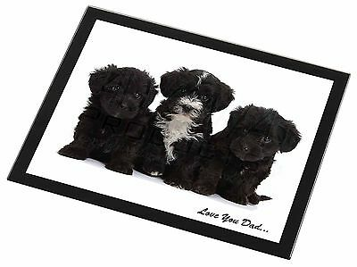 Yorkipoo Pups 'Love You Dad' Black Rim Glass Placemat Animal Table Gi, DAD-139GP