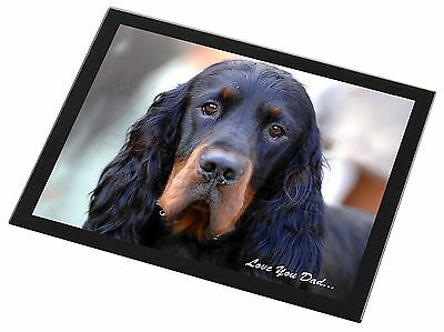 Gordon Setter 'Love You Dad' Black Rim Glass Placemat Animal Table Gif, DAD-38GP