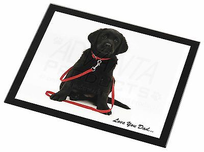 Goldador Dog 'Love You Dad' Black Rim Glass Placemat Animal Table Gift, DAD-69GP