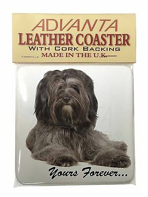 Tibetan Terrier 'Yours Forever'  Single Leather Photo Coaster Animal , AD-TT2ySC