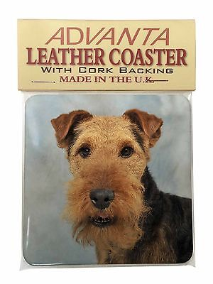 Welsh Terrier Dog Single Leather Photo Coaster Animal Breed Gift, AD-WT1SC