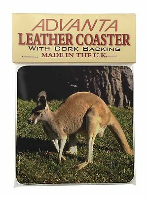 Kangaroo Single Leather Photo Coaster Animal Breed Gift, AK-2SC
