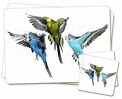 Budgerigars, Budgies in Flight Twin 2x Placemats+2x Coasters Set in Gif, AB-94PC
