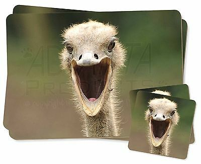 Ostritch Photo Print Twin 2x Placemats+2x Coasters Set in Gift Box, AB-OS1PC