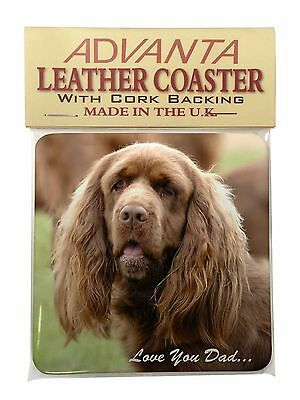 Sussex Spaniel 'Love You Dad' Single Leather Photo Coaster Animal Bre, DAD-122SC