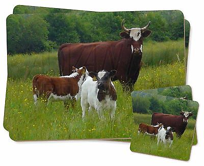 Cow with Calf Twin 2x Placemats+2x Coasters Set in Gift Box, ACO-5PC